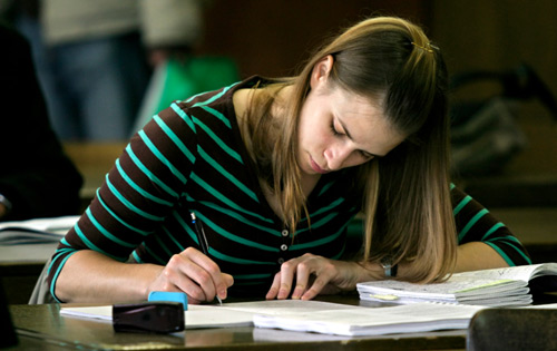 Student Studying for Exam