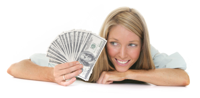 Female Student With Cash